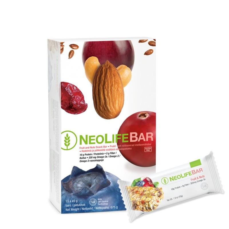 """NeoLifeBar - """"NeoLife"""" vaisių ir riešutų batonėlis. Sveikas Užkandis (15 vnt. x 45 g.)"""
