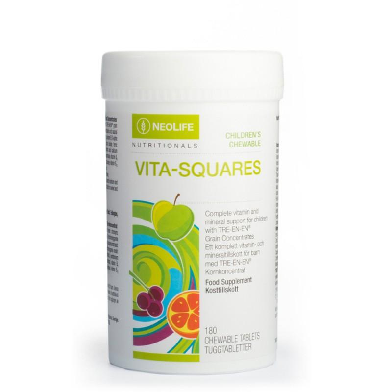 """Vita-Squares - """"NeoLife"""" kramtomieji polivitaminai vaikams (180 tablečių)"""